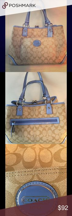 Coach Peyton Frame (19867544) Brown Logo &Sky Blue Huge Coach Bag With multiple compartments, zippered and tight closures.  Includes one section with magnetic closure.  SV/Light Khaki Sky F23721 SVB 61. Coach Bags Satchels