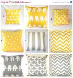 SALE Pillow Cover, Pillow, Nursery, Baby, Decorative Pillow, Beach Decor, Spring, Grey Yellow Pillows, Giraffes, Elephant, FAST SHIPPING