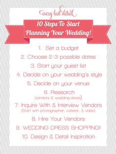 10 Steps To Start Planning Your Wedding! Every Last Detail Newly Engaged? 10 Steps To Start Planning Your Wedding! Wedding List, Wedding Advice, Plan Your Wedding, Budget Wedding, Diy Wedding, Wedding Planner, Dream Wedding, Wedding Ideas, Wedding Stuff