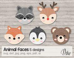Animal faces svg, animal faces cricut, racoon, reindeer, bear, penguin, fox, archivo de corte, svg, dxf, jpg, png, eps, pdf, ai de DulsStuff en Etsy