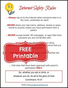 Kids Safety Internet Homeschooling Safety with FREE Printable! - Blessed Beyond A Doubt - Educate and protect your children with this FREE Internet Homeshcooling Safety Rules printable for your home. Worksheets For Kids, Kindergarten Worksheets, Printable Worksheets, Free Printable, Homeschool Worksheets, Printables, Internet Safety Rules, Internet Safety For Kids, Kids Safety