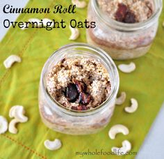 Cinnamon Roll Overnight Oats ::  Ingredients  1/4 cup raw cashews (soaked for at least 4 hours) 1/2 cup gluten free rolled oats or rolled oats 1/2 cup milk of choice (I used almond milk) 2 tsp maple syrup or 1 date chopped 1 1/2 tsp cinnamon 2 tsp chia seeds 1 tsp vanilla extract