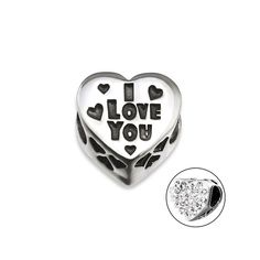 d95db21b7 I Love You CZ Heart Charm Bead, 925 Sterling Silver, fits Pandora Bracelets