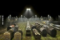 Night at the railway area . . . Kingdom of Denmark . . .