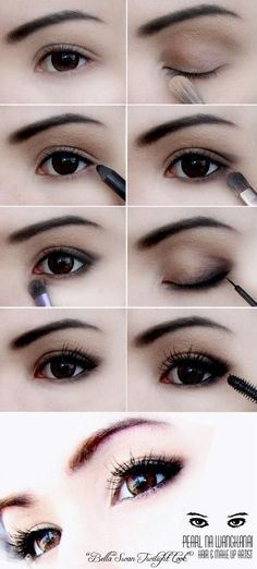 Ideen für Make-up Tutorial Asian Simple - Makeup Tutorial For Teens Subtle Eye Makeup, Pale Skin Makeup, Asian Eye Makeup, Simple Makeup, Hair Makeup, Eye Enlarging Makeup, Natural Makeup, Asian Smokey Eye, Smoky Eye