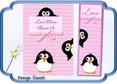 Hülle f. Hausaufgaben- o. Schulheft Pinguin rosa von Jasuki auf DaWanda.com