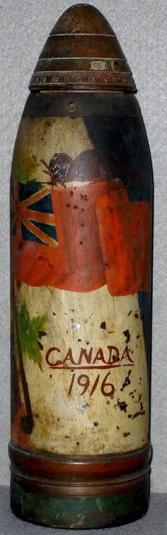 Trench Art ... WWI British/Canadian Painted Trench Art Shell