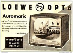 "Original-Werbung/ Anzeige 1958 - LOEWE OPTA ""ARENA"" AUTOMATIC FERNSEHER - ca. 180 X 130 mm"