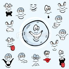 Cartoon Moon Facial Expressions Royalty Free Stock Vector Art Illustration