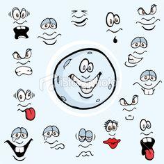 Cartoon Moon Facial Expressions Royalty Free Stock Vector Art Illustration