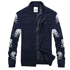 2016 New Men's Skull Winter Casual Fitted Collar Jacket