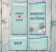 Digital - druckbare Dateien beidseitig - Chillen auf dem Strand Hochzeitseinladung und Antwort Karte Set - Hochzeit-Briefpapier - ID167