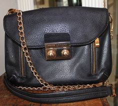Kate Laundry Black Vegan Leather Cross Body Handbag Women Purse #KateLandry #CrossBoy