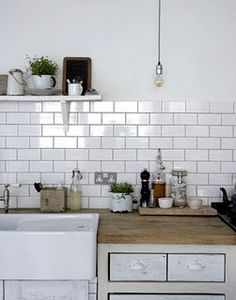 Kitchen with large white subway tiles subway tile kitchen tiles kitchen cabinets doors . Subway Tile Kitchen, Kitchen Backsplash, Backsplash Ideas, Kitchen Splashback Ideas, Tile Ideas, Splashback Tiles, Metro Tiles Kitchen, Rock Backsplash, Kitchen Interior