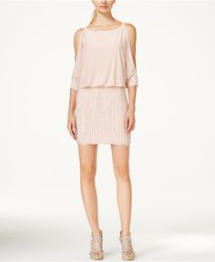 INC International Concepts Cold-Shoulder Beaded Blouson Dress, Only at Macy's - INC International Concepts - Women - Macy's