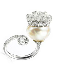 A NATURAL PEARL AND DIAMOND RING, BY VIREN BHAGAT