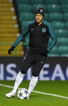 Barcelona's Brazilian striker Neymar attends a training session at Celtic Park stadium in Glasgow on November 22 2016 ahead of their UEFA Champions...