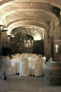 Party in the old wine cellar.