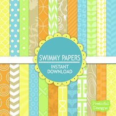Digital Bright Paper Pack  - Personal and Commercial Use - Swimmy