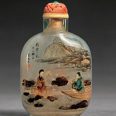 A Scene From The Dream Of The Red Chamber (c. 1895-1901 )  An example of a snuff bottle painted on the inside with ink and watercolours through the mouth of the bottle.  It is said that the art form first emerged sometime around the reigns of Qianlong and Jiaqing's.