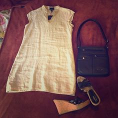 NWT Cynthia Rowley linen dress Brand new with tags. Linen shift dress with beautiful stitched detail in light gold thread. Perfect for spring. No trades, but make me an offer. Also, if you find two or three things you like, I'll bundle to save you some shipping cost. Cynthia Rowley Dresses Midi