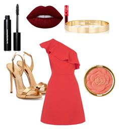 """""""Red as a Rose"""" by sphensley ❤ liked on Polyvore featuring Giuseppe Zanotti, Bobbi Brown Cosmetics, Lime Crime, Oasis, Jules Smith and Milani"""