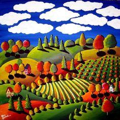 Automne coloré jour lunatique paysage Folk Art Peinture Original Fun