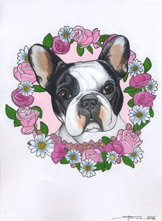 frenchie, french bulldog , roses , flowers , sketch , cute , cutie
