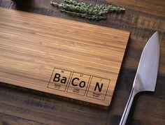 Geekery, Periodic Table Custom Engraved Bamboo Wood Cutting Board ...