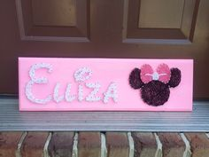 Custom Name String Art in Disney inspired font with Minnie or Mickey Mouse Design, birthday gift, baby shower gift, personalized gift by BlossomsNKnots on Etsy https://www.etsy.com/listing/199487566/custom-name-string-art-in-disney