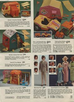 Barbie's Country Camper, Goin' Camping Set, Camp-Out Tent and Country Living Home from the Eaton's Christmas Catalog, 1973