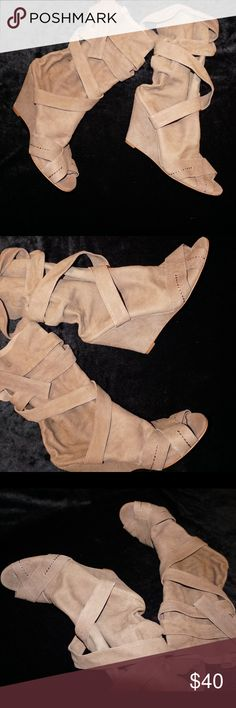 Lace up wedge Dark taupe suede wedge that wraps around lower leg and it's open toe! NEVER WORN! With box! Nine West Boutique 9 Dorie! Nine West Shoes Lace Up Boots