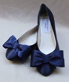 Navy Wedding Flat Size 7 5 Ready To Ship Blue Flats Bow