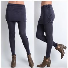 Brown ribbed skirt attached to leggings Brown ribbed skirt attached to leggings Pants Leggings