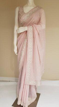 e9b905a5fdb446 Light Peach Georgette saree with pearl work