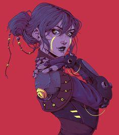 Purple Cyberpunk by Sarah Begemann Sci Fi Kunst, Cyberpunk Kunst, Cyberpunk Girl, Comic Kunst, Cyberpunk 2077, Comic Art, Cyberpunk Anime, Character Concept, Character Art