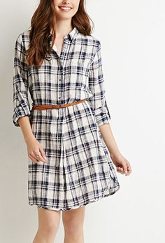Contemporary Belted Plaid Shirt Dress | Forever 21 - 2000167435