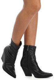 Black Trendy Faux Leather Booties