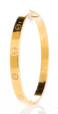 "CARTIER LOVE BRACELET ~ the iconic ""love slave"" bracelet designed by Aldo Cipullo. The bracelet is locked and unlocked with a key. Who keeps the key? Cartier Bracelet, Cartier Jewelry, Gold Jewelry, Bracelet Watch, Jewelry Box, Jewelery, Jewelry Watches, Jewelry Accessories, Fine Jewelry"