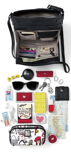 Brighton Sadie Cross-Body Organizer. Our B Wishes Measuring Tape, B Wishes Lipstick Case, Spectrum Sunglasses, Contempo Key Fob, Toledo Hoop Earrings, B Wishes Snappy Mirror, Lovebeat Card Case, On the Prowl Pocket Notebook, Fashion City Pack-it-Pouch and Lovebeat Pill Box