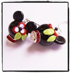 Minnie Mouse Earrings Sterling Silver Tropical by MagicalCharms, $38.00