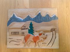 Hut in de sneeuw, met prins Bernhard hond.