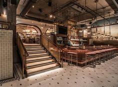 Swift & Sons - Premier Steak House with Modern Twist Retail Interior Design, Restaurant Interior Design, Cafe Interior, Luxury Interior Design, Design Interiors, Interior Ideas, Interior Architecture, Bar Lounge, Cafe Restaurant