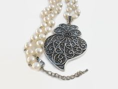 """Filigree Heart Pendant Necklace, Portuguese """"Coração de Viana"""" (Viana Heart) in vintage Silver color with Faux Pearl Necklace, RMTouch#12 by RMTouchJewelry on Etsy"""