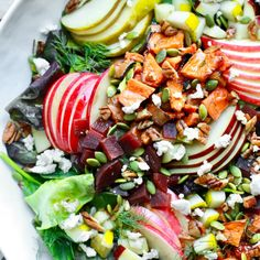 Try this delicious gluten free and dairy free Fall Harvest Chopped Salad loaded with seasonal ingredients and a delicious almond apple dijon dressing! Chicken Salad Recipes, Easy Salads, Healthy Salad Recipes, Whole Food Recipes, Healthy Food, Summer Salads, Healthy Summer, Healthy Chicken, Fall Recipes