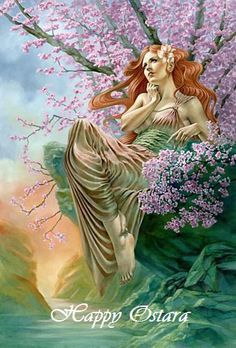 The goddess Eostre, for which Easter was named. Ostara is the holiday Wiccans celebrate her on; she brings life and fertility back to the land.