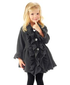 Another great find on #zulily! Black Double Ruffle Coat - Infant, Toddler & Girls #zulilyfinds