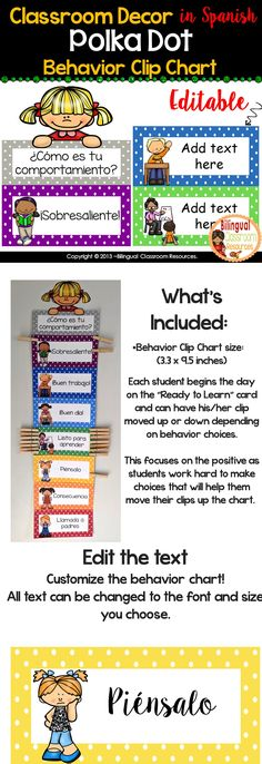 Use this fun behavior chart in your classroom! It's designed to encourage positive behavior, and discourage poor behavior. This set is EDITABLE you can choose your own fonts and size of your text. #behaviorchart #behaviorchartprintable #behaviorchartprintableclassroom #classroommanagement #classroommanagementelementary #classroommanagementinspanish #spanishclassroommanagement #conducta #disciplina Bilingual Classroom, Bilingual Education, Classroom Language, Spanish Classroom, Classroom Resources, Teacher Resources, Behavior Chart Printable, Behaviour Chart, Behavior Management Strategies