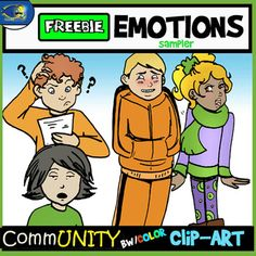 FREE EMOTIONS SAMPLER!  Everyone has feelings, but you can make them easier for students to manage, identify, and understand with this unique product. (Use them in your resources as well!)  This fabulous clip-art set features 4 bw/4 Color emotions.   Clips are 300 dpi pngs.