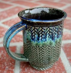 Herringbone Slab Built Stoneware Mug by muddyfingers on Etsy